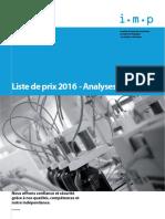 2016 Preisliste Analyseschimiques F