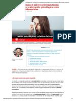 Lesión Psicológica y Criterios de Imputación. Daño Psíquico y Afectación Psicológica Como Parámetros Diferenciales _ Legis