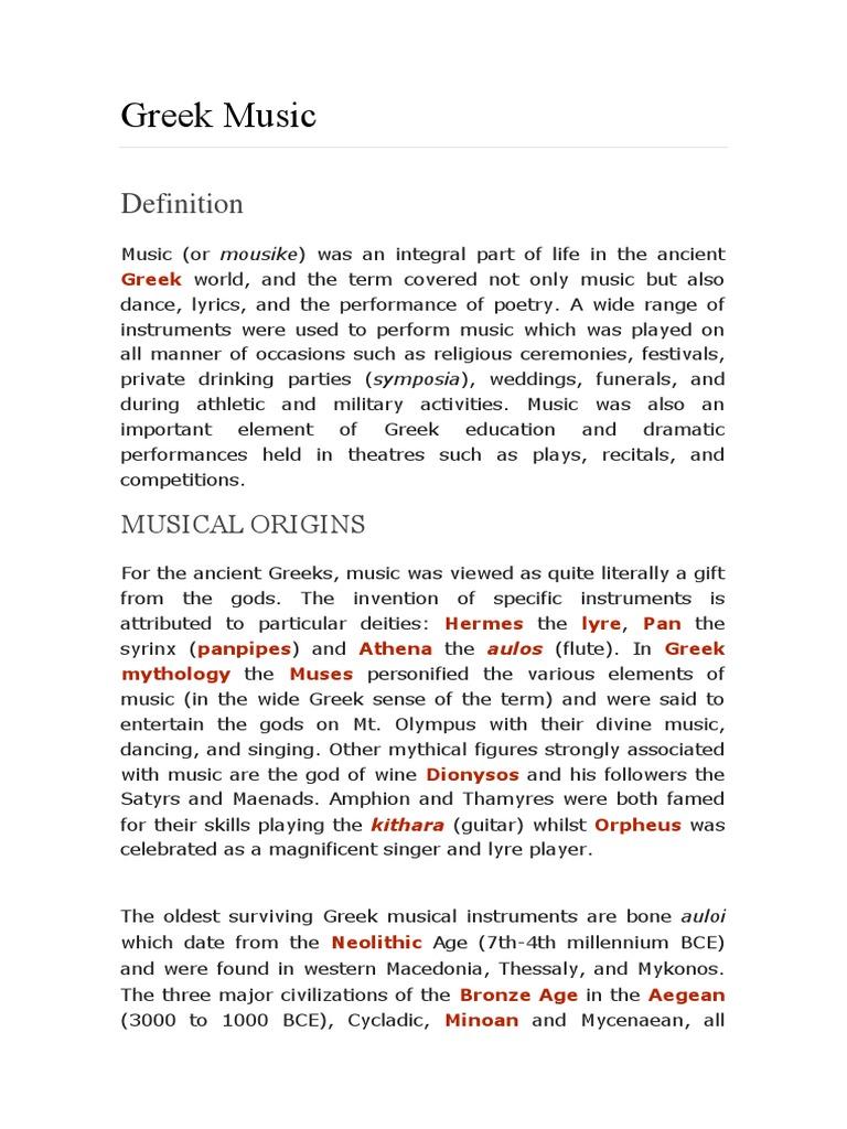 Greek Music Ancient History Encyclopedia docx | Musical