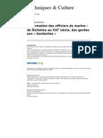 La Formation Des Officiers de Marine de Richelieu Au XXIeme siecle