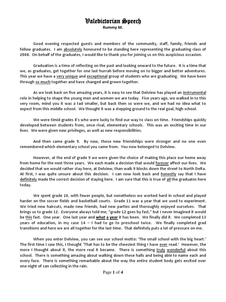 Valedictorian Speech with Dr Seuss Quote – Graduation Speech Example Template