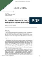 La Notion de Nature Dans Les Théories de l'«Écriture Féminine»