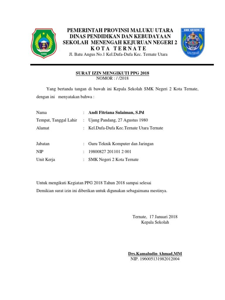 Surat Izin Dari Kepala Sekolah Untuk Menjadi Peserta Ppg ...
