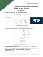 Solusi Osn Matematika Smp 2017