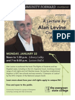 Revised flyer for Evergreen State College lecture by civil rights lawyer Alan Levine