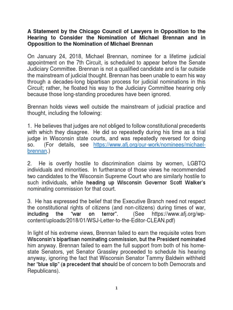 A Statement by the Chicago Council of Lawyers - Brennan (004