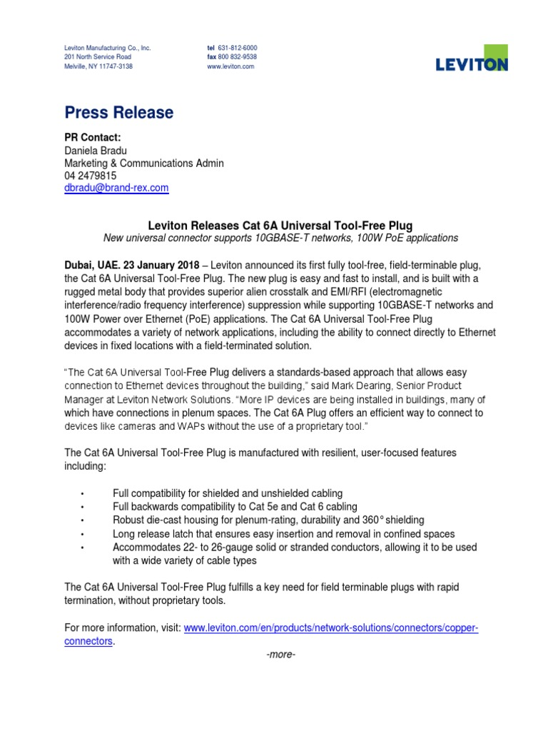 Leviton Releases Cat 6A Universal Tool-Free Plug | Electrical ...