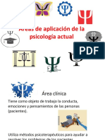 Áreas de Aplicación de La Psicología Actual
