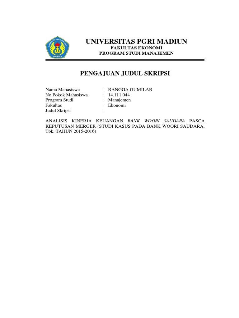 Contoh Proposal Pengajuan Judul Skripsi Manajemen Kumpulan Berbagai Skripsi