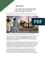 Noticia Aniversario de Lima y Visita Del Papa