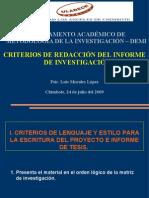 07 Criterios de Redaccion Del Informe de Investigacion