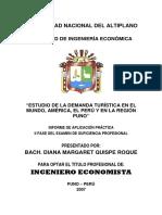Demanda Turistica America Peru Puno