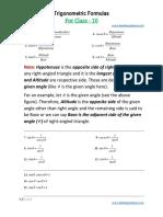 Basic Trigonometriy Formulas for Class 10