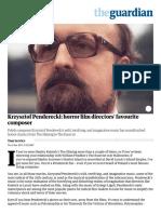 Krzysztof Pendercki Horror Film Directors' Favourite Composer Film (the Guardian)