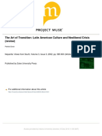 The Art of Transition--Latin American Culture and Neoliberal Crisis (Review Article on Masiello)