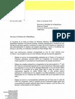 SF 18 E 007 AMR Argentine Courrier à E. Macron 24.08.18 1