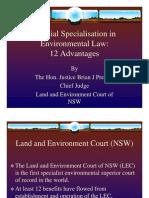 Brian Preston - Judicial Special is at Ion in Environmental Law - 12 Advantages