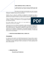 Especificaciones Generales Para La Obra Civil