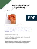 Conozca 3 Tipos de Investigación Descriptiva, Exploratoria y Explicativa