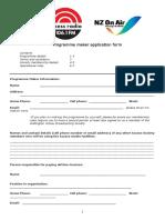 WAR OFFICIAL Programme Maker Application Form 2017