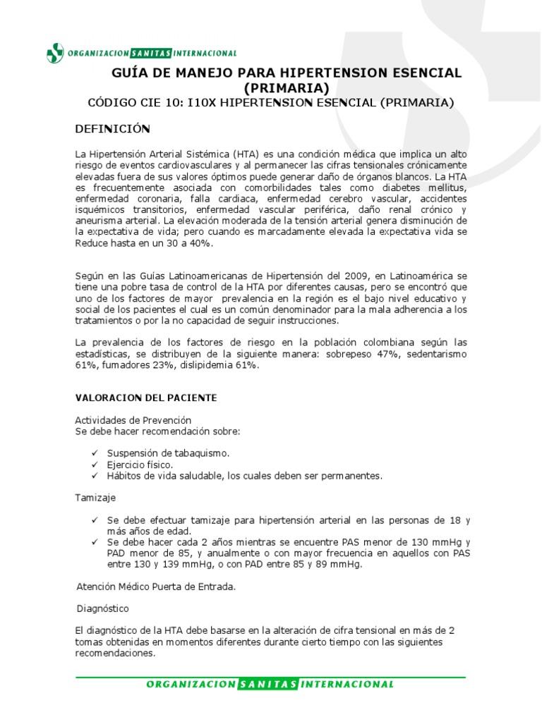 Código icd-10 de hipertensión