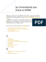 Carreras Universitarias Que Ofrece La UNAM