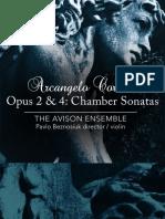Corelli Opus 2 4 Chamber Sonatas - Booklet