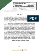 Devoir de Synthèse N°1 - Anglais - Bac Sciences (2010-2011) Mr TAHRI ALI