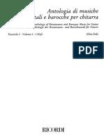 Música para Guitarra Antología de Música del Renacimiento y del Barroco para Guitarra reunida por Elliot Fisk. Volumen 1