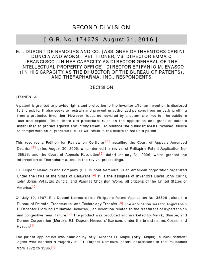 E I  Dupont de Nemours and Co  v  Francisco | Patent