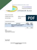 Cotizacion No.423 Eje de Palier - Isc San Carlos