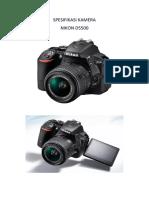 Spesifikasi Kamera d5500
