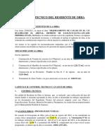 Informe Tecnico Del Residente de Obra Arenal