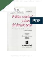 ROXIN, Claus_Politica Criminal y Sistema de Derecho Penal