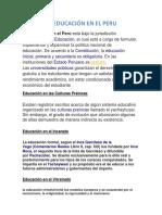 La Educación en El Peruy