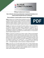Bloque Constitucional de Venezuela Sobre Llamado a Elecciones Presidenciales