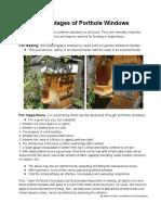 Porthole Window Advantages