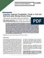 Long-term observed Precipitation Trends in Arid and Semi-arid Lands, Baringo County, Kenya