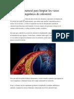 Método Natural Para Limpiar Los Vasos Sanguíneos de Colesterol