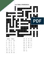 Crucigrama de a Tabla Periodica