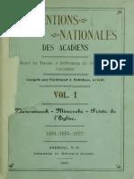 Conventions Nationales Des Acadiens - Recueil Des Travaux Memramcook, Miscouche, Pointe à l'Eglise --- 1907