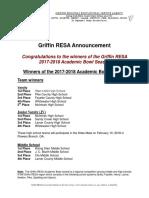 Congrats to the 2017-2018 Academic Bowl Season Winners!  #GRESA