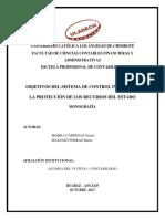 OBJETIVOS DEL SISTEMA DE CONTROL INTERNO EN LA PROTECCIÓN DE LOS RECURSOS DEL ESTADO