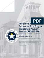 Audit of Procurement for Bond Program Mgmt Advisory Svcs (RFQ17-069)