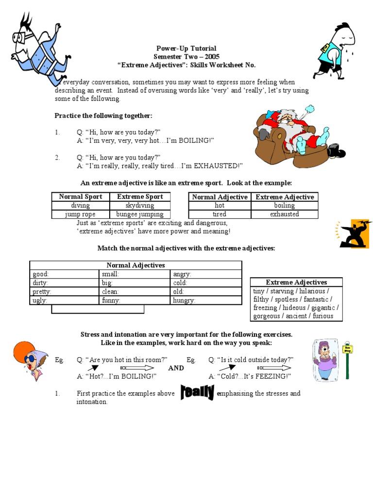 Extreme Adjectives Skills Sheet