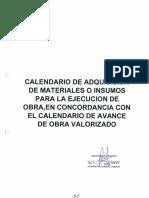 Calendario de Adquisicion de Materiales o Insumos