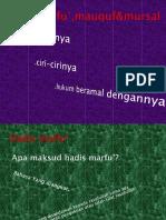 Hadis Marfu',Mauquf Dan Mursal (Bab 19)