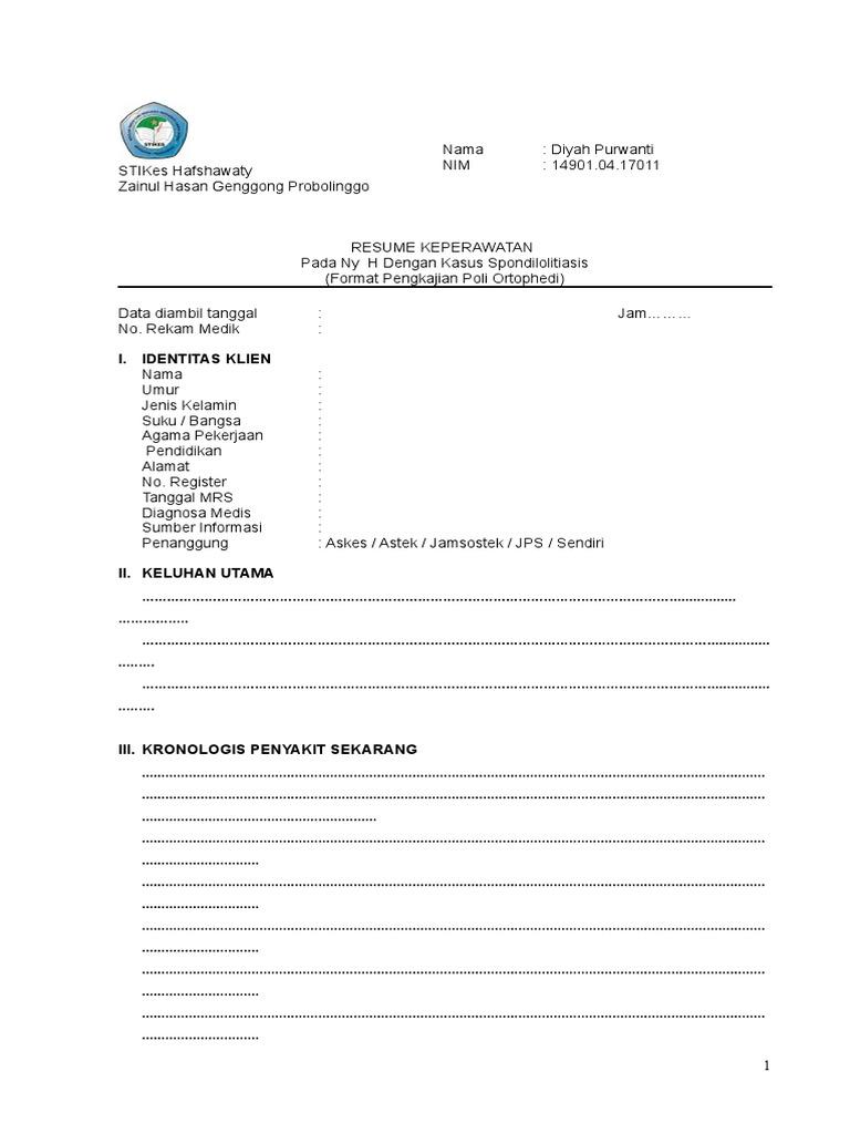 format poli orthopedi spondilolitiasis - Format Resume Keperawatan Doc