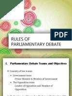 Rules of Parliamentary Debate