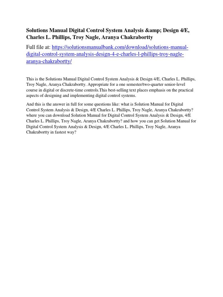 Solutions Manual Digital Control System Analysis & Design 4/E, Charles  L. Phillips, Troy Nagle, Aranya Chakrabortty | Donald Trump | Gobierno de  los ...